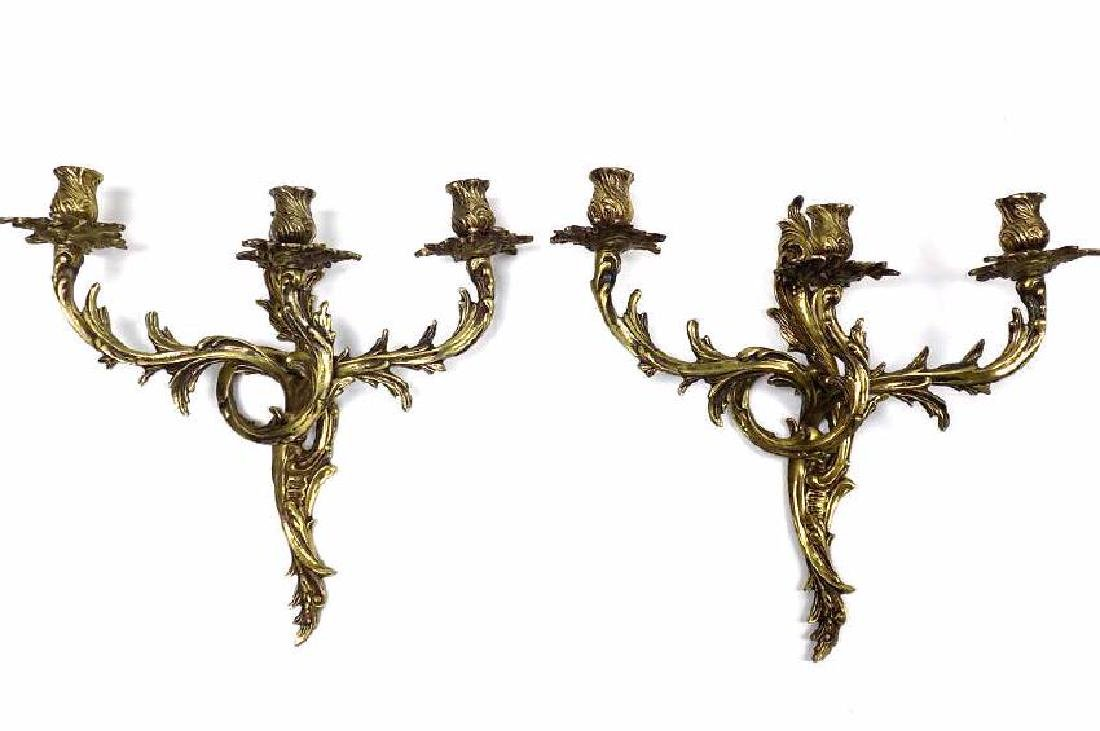 PAIR ROCOCCO REVIVAL BRASS 3 LIGHT CANDELABRAS