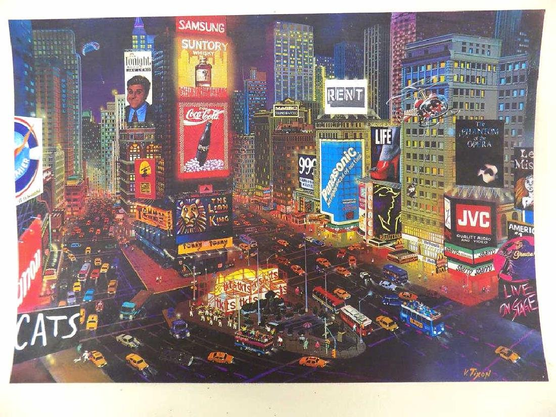 V. TIXON - NEW YORK CITY TIMES SQUARE SIGNED PRINT