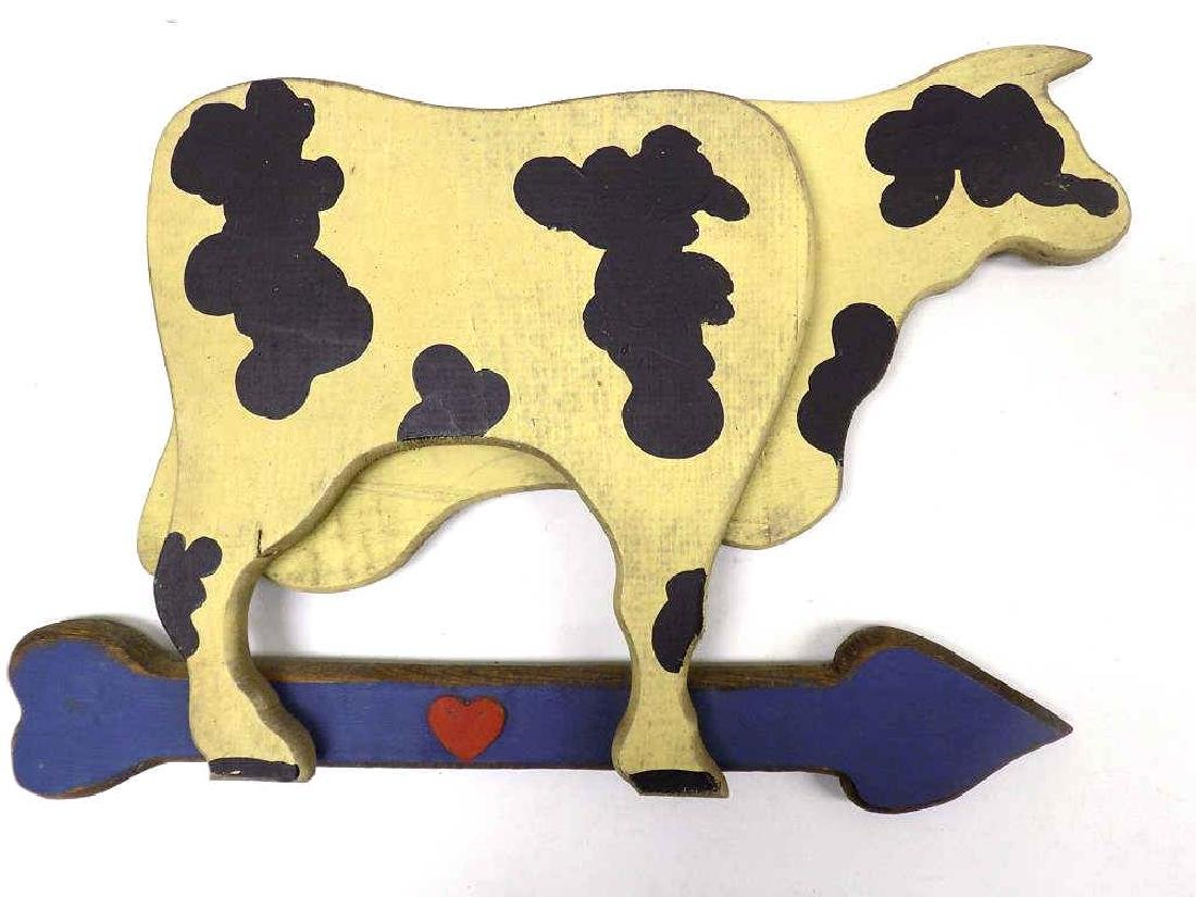 COUNTRY FOLK ART PAINTED WOOD COW PLAQUE