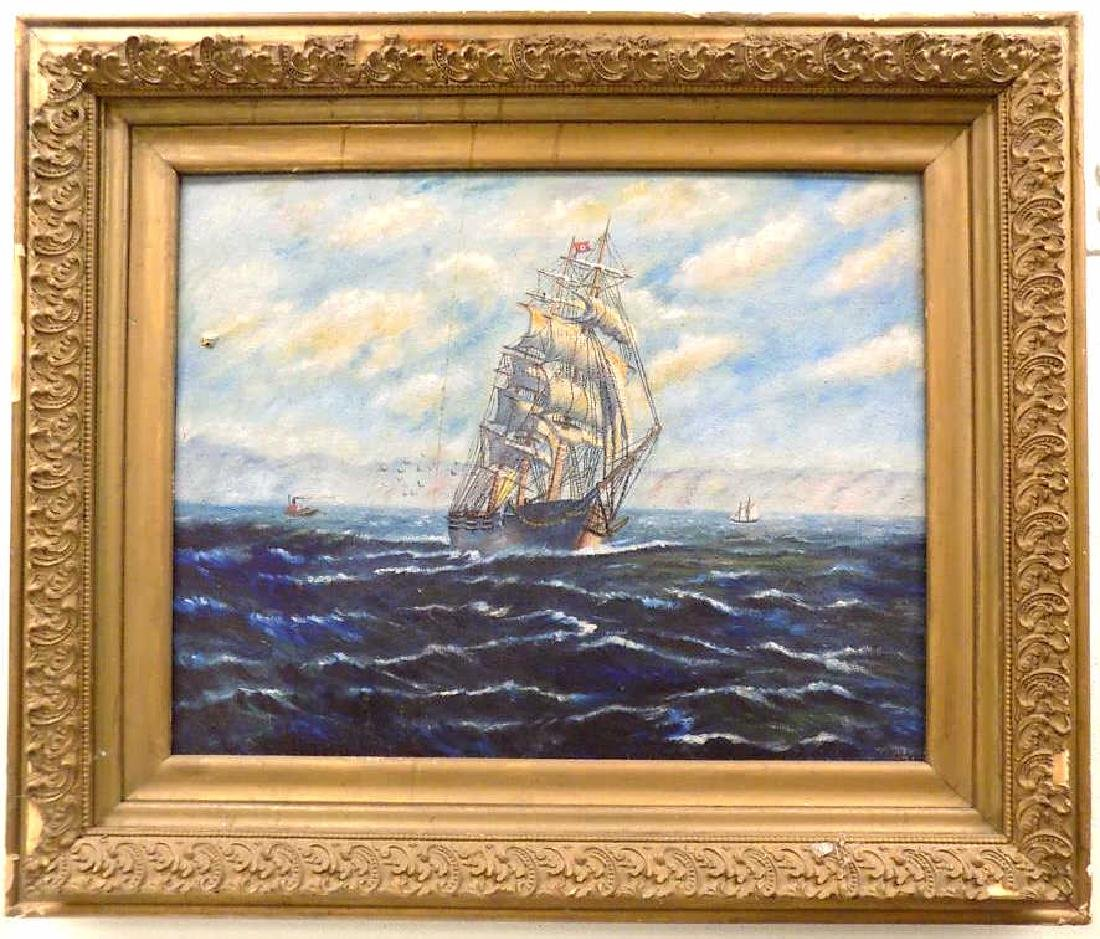 FOLK ART NAUTICAL CLIPPER SHIP PAINTING