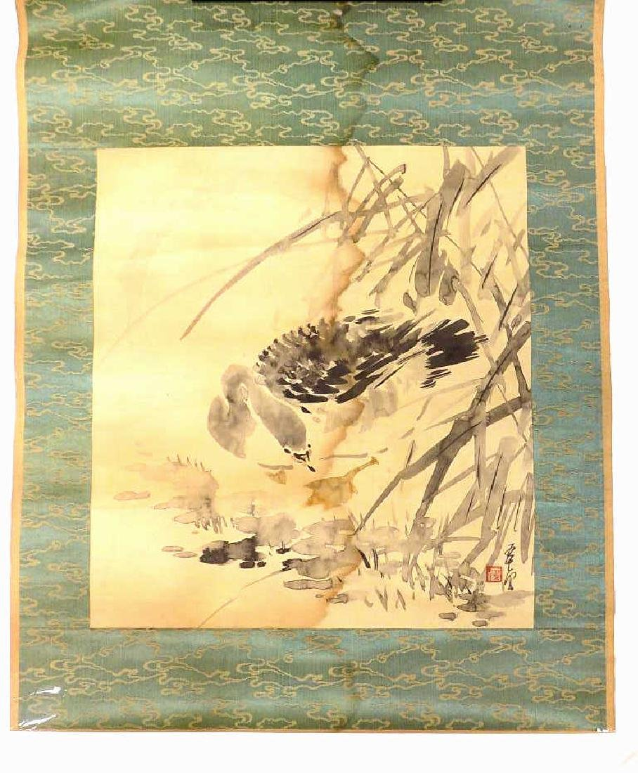 ANTIQUE SIGNED CHINESE BIRD WATERCOLOR SCROLL