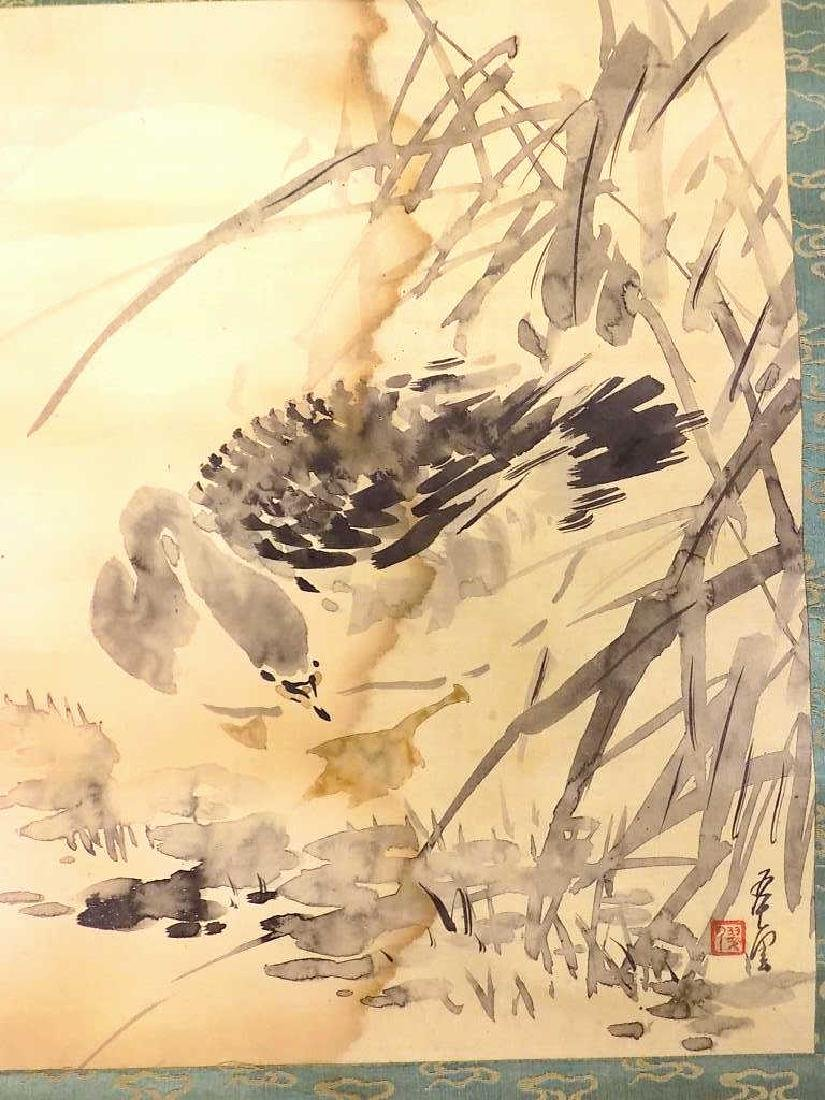 ANTIQUE SIGNED CHINESE BIRD WATERCOLOR SCROLL - 2