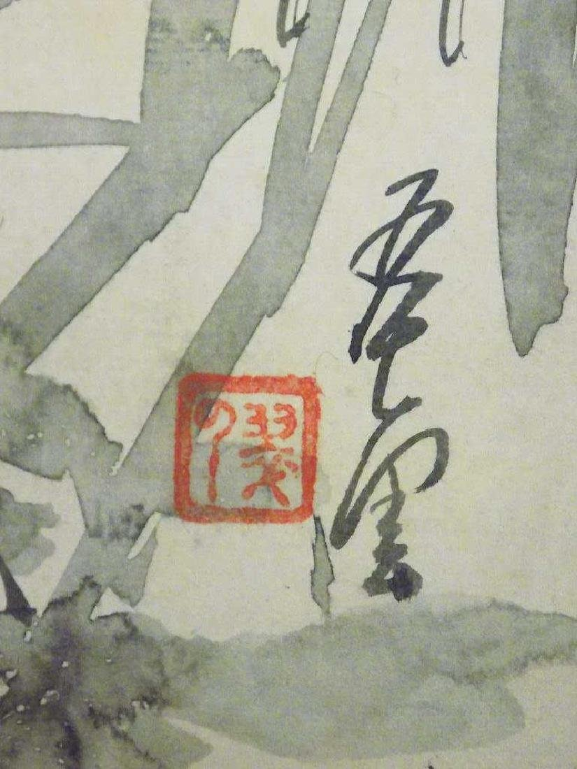 ANTIQUE SIGNED CHINESE BIRD WATERCOLOR SCROLL - 3