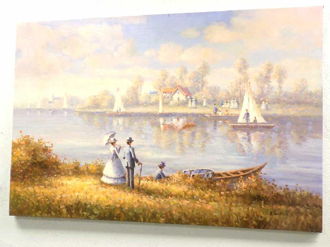 DUBOIS - RIVERSIDE SAILBOATS PAINTING