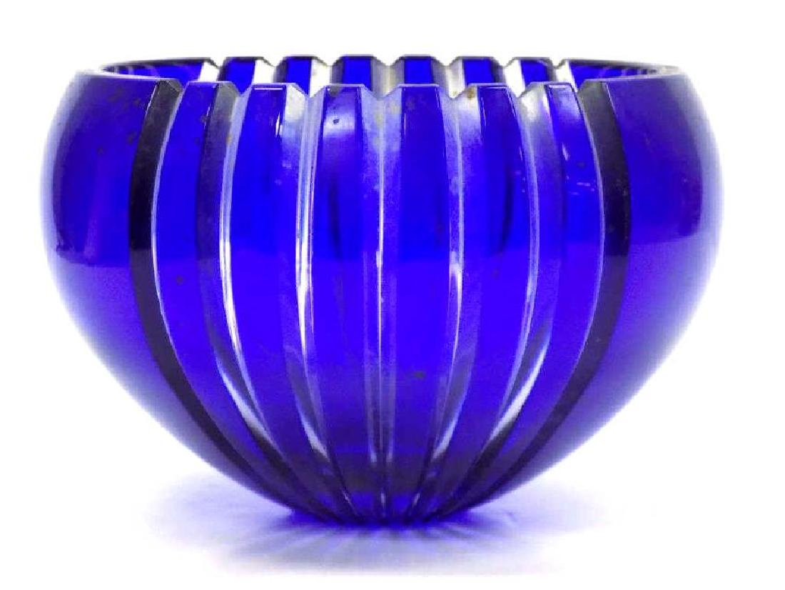 ART DECO BLUE COBALT CUT CRYSTAL BOWL