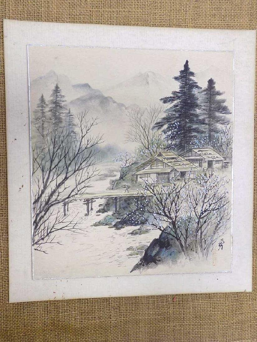 CHINESE SIGNED LANDSCAPE WATERCOLOR GOUACHE