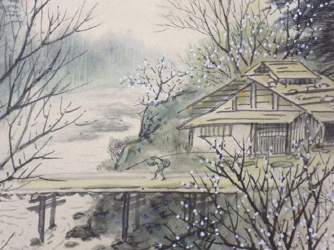 CHINESE SIGNED LANDSCAPE WATERCOLOR GOUACHE - 2
