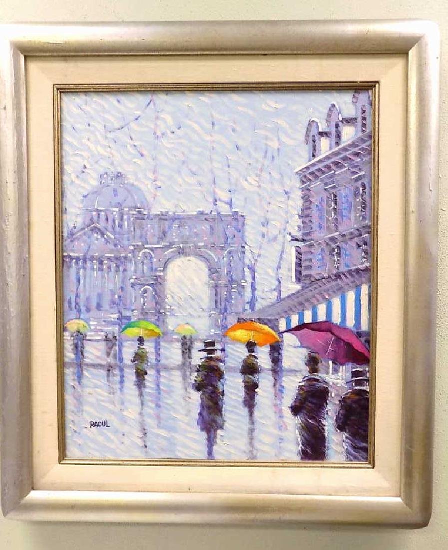 RAOUL - WALKING IN THE RAIN PAINTING