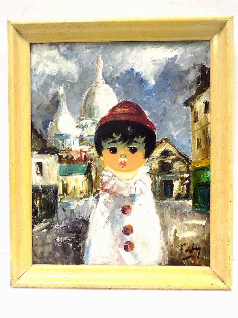FRENCH BIG EYED CHILD PAINTING ILLEGIBLY SIGNED