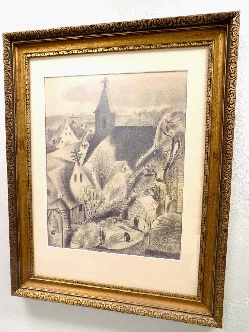 HANS FOY - VILLAGE LANDSCAPE GRAPHITE DRAWING