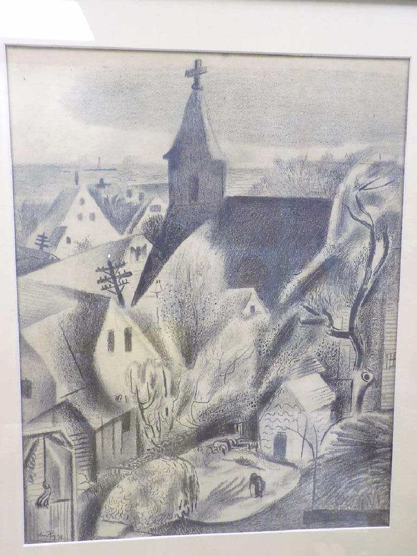 HANS FOY - VILLAGE LANDSCAPE GRAPHITE DRAWING - 2