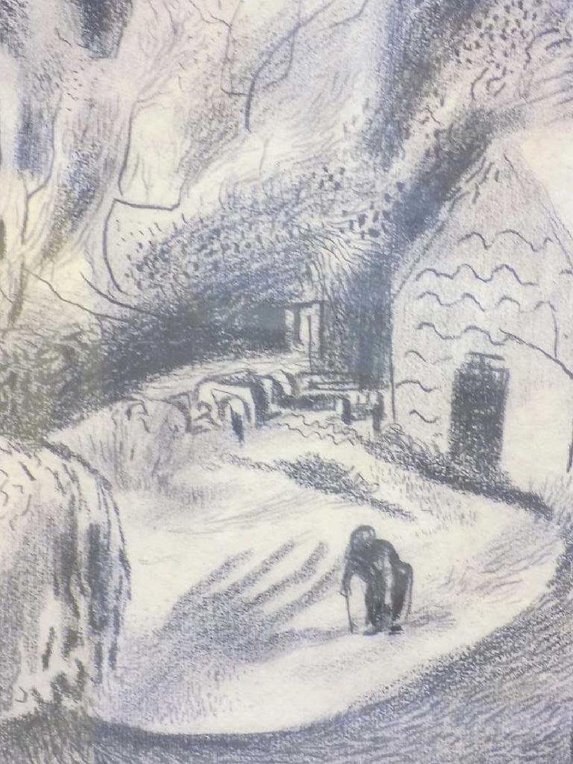 HANS FOY - VILLAGE LANDSCAPE GRAPHITE DRAWING - 3