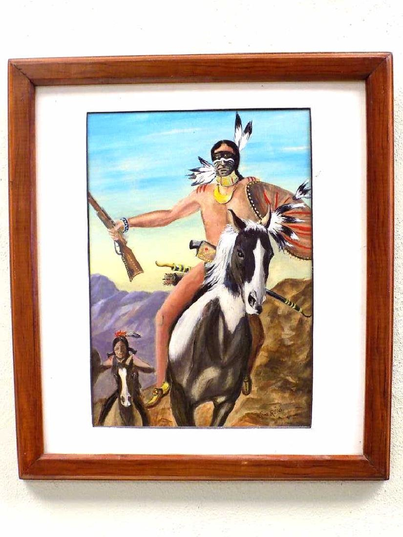 RISS - INDIAN WARRIORS ON HORSEBACK PAINTING