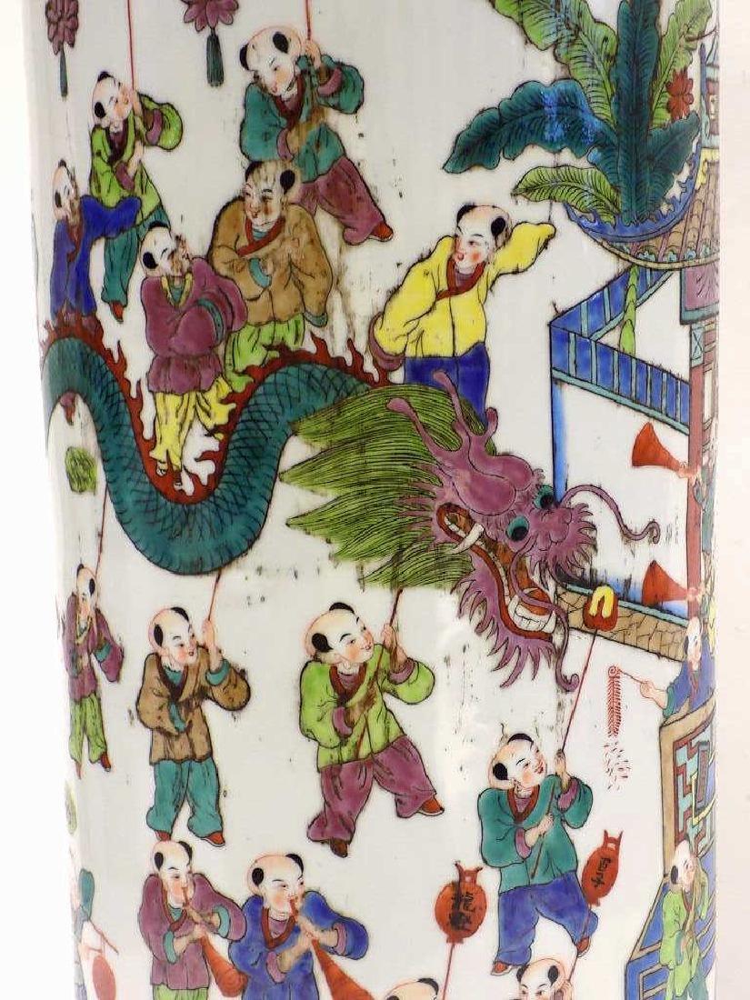 CHINESE FAMILLE VERTE UMBRELLA STAND - 3
