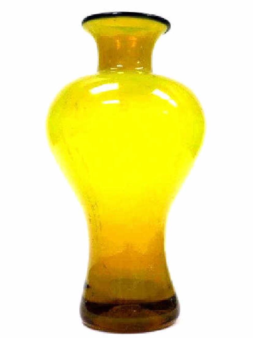 MURANO YELLOW ART GLASS BALUSTER VASE