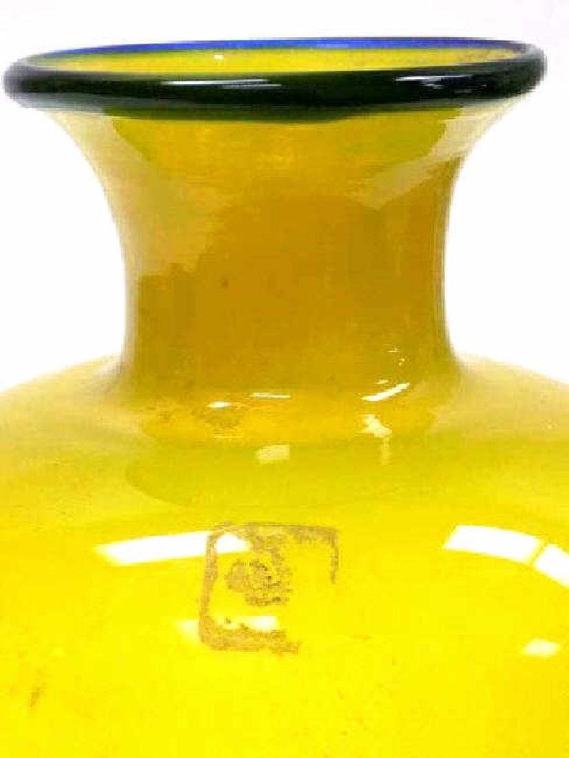 MURANO YELLOW ART GLASS BALUSTER VASE - 2