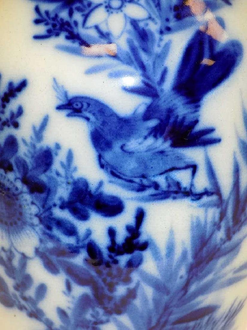 CHINESE BLUE & WHITE BIRD TABLE VASE - 2