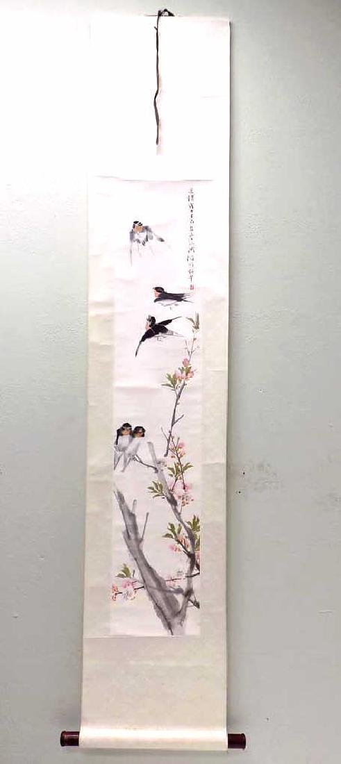 CHINESE BIRDS IN FLIGHT SIGNED WATERCOLOR SCROLL