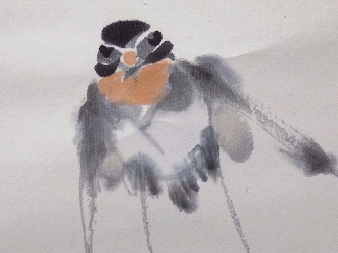 CHINESE BIRDS IN FLIGHT SIGNED WATERCOLOR SCROLL - 3