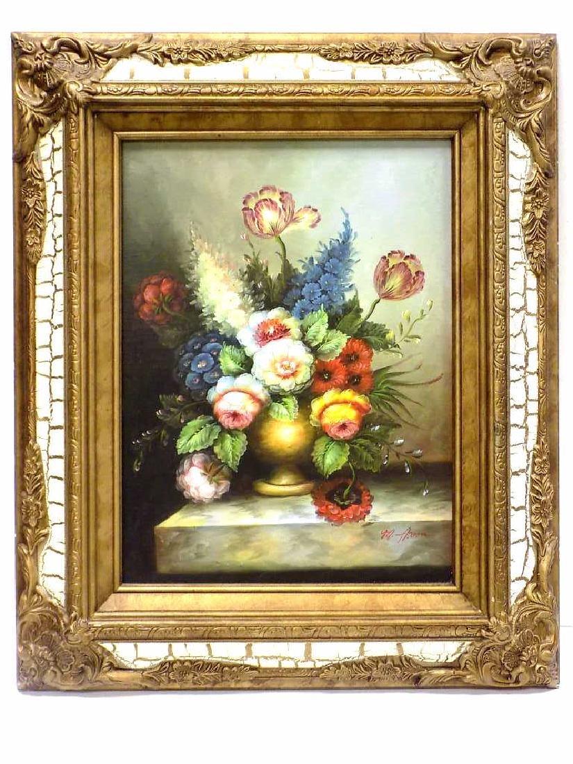 M. AARON - VASED FLOWERS TABLE STILL LIFE PAINTING