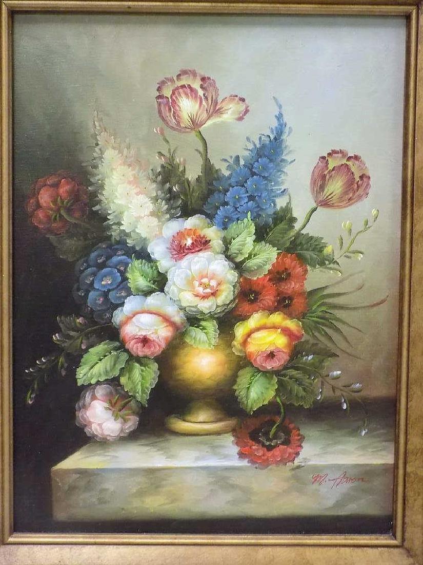 M. AARON - VASED FLOWERS TABLE STILL LIFE PAINTING - 2