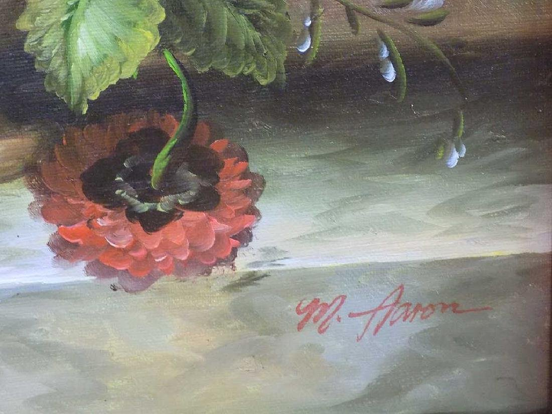 M. AARON - VASED FLOWERS TABLE STILL LIFE PAINTING - 3