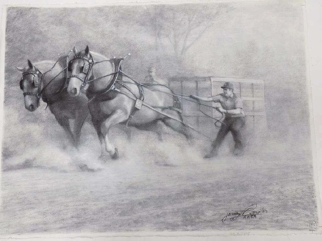JAMES CROW - RACE HORSES CHARCOAL DRAWING