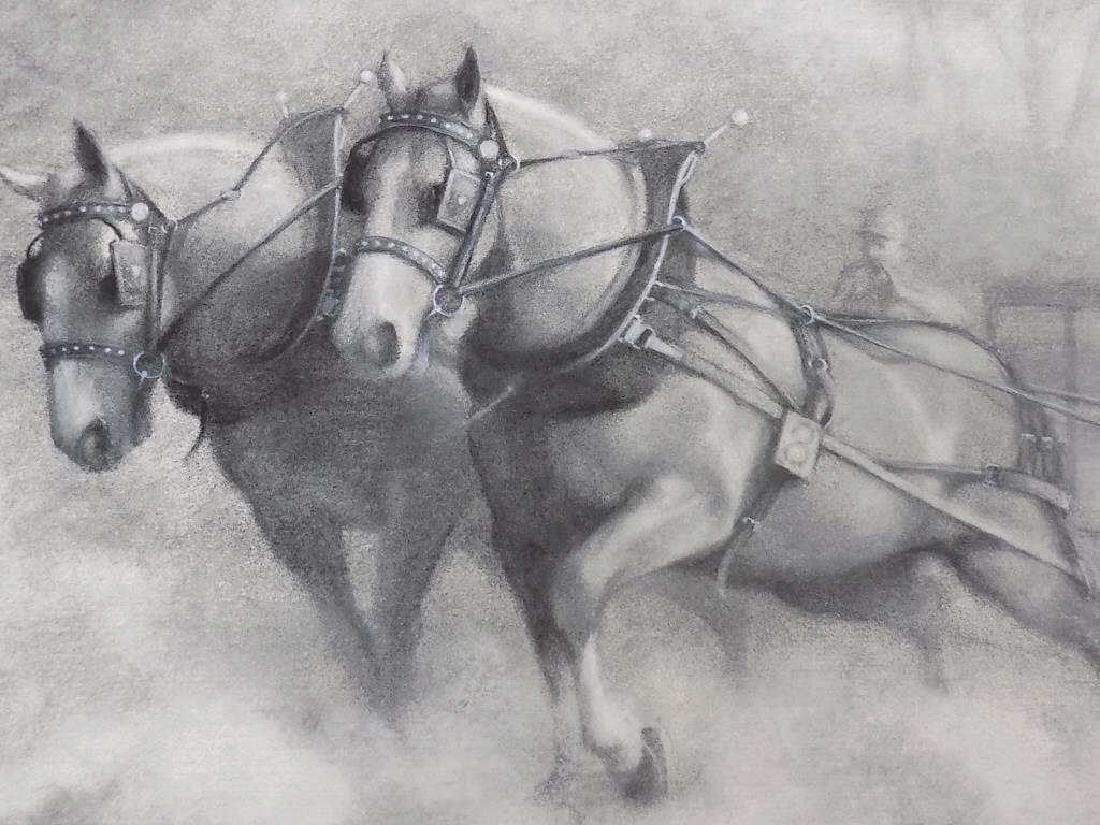 JAMES CROW - RACE HORSES CHARCOAL DRAWING - 2