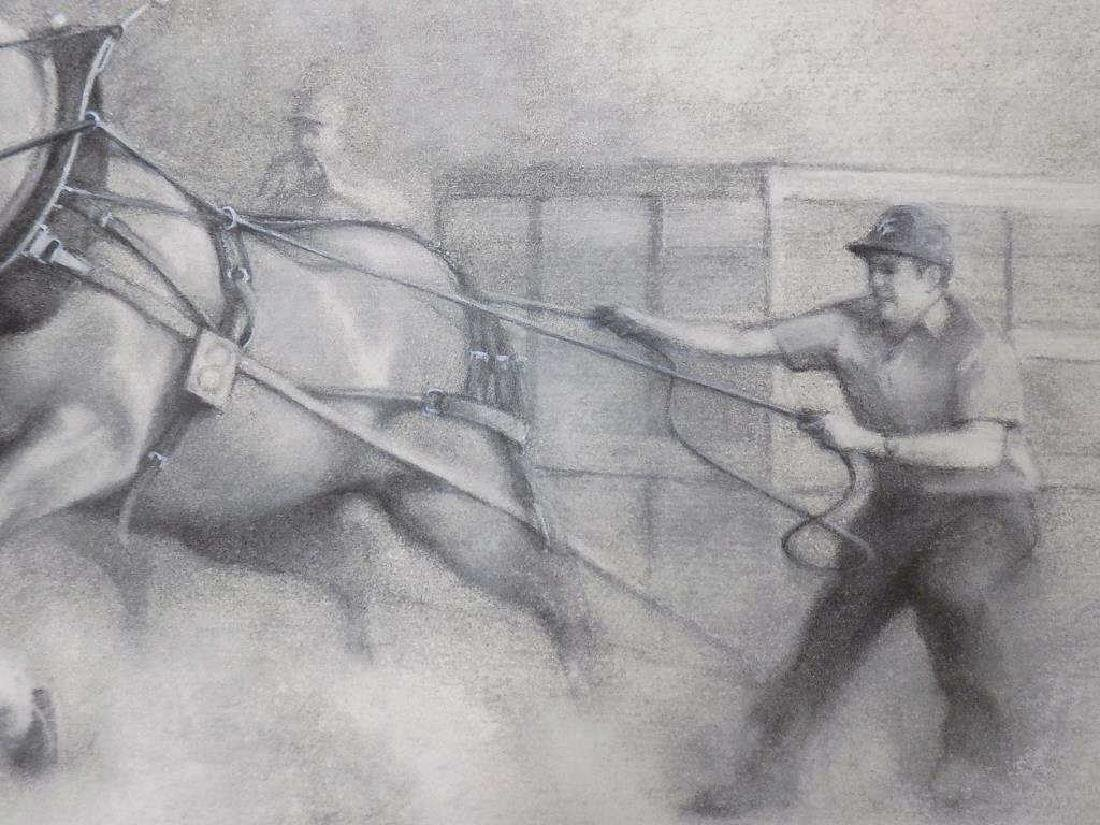JAMES CROW - RACE HORSES CHARCOAL DRAWING - 3