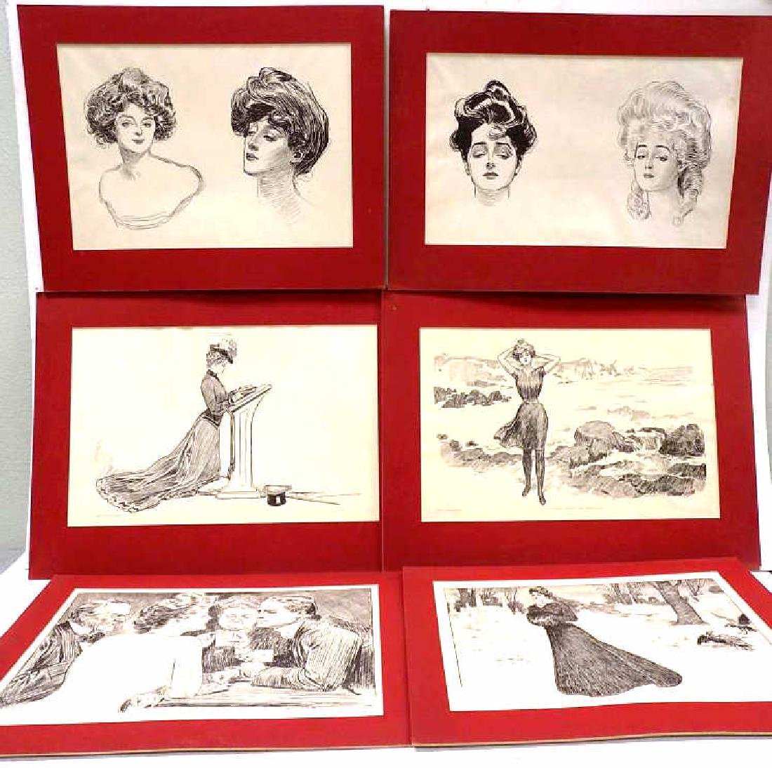 CHARLES DANA GIBSON - GROUP OF 6 LITHOGRAPHS