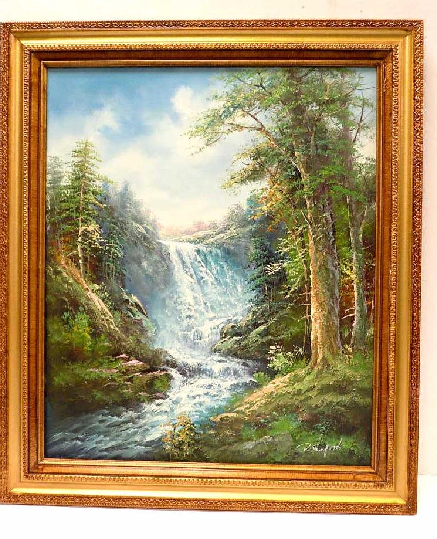 R. DENFORD - MOUNTAIN WATERFALL PAINTING
