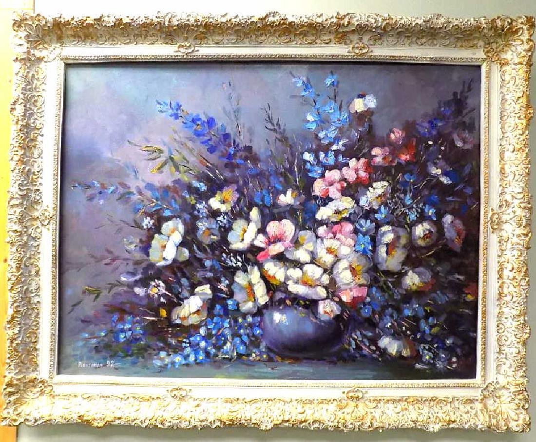 ROBERMAN - BIG DETAILED FLORAL STILL LIFE PAINTING