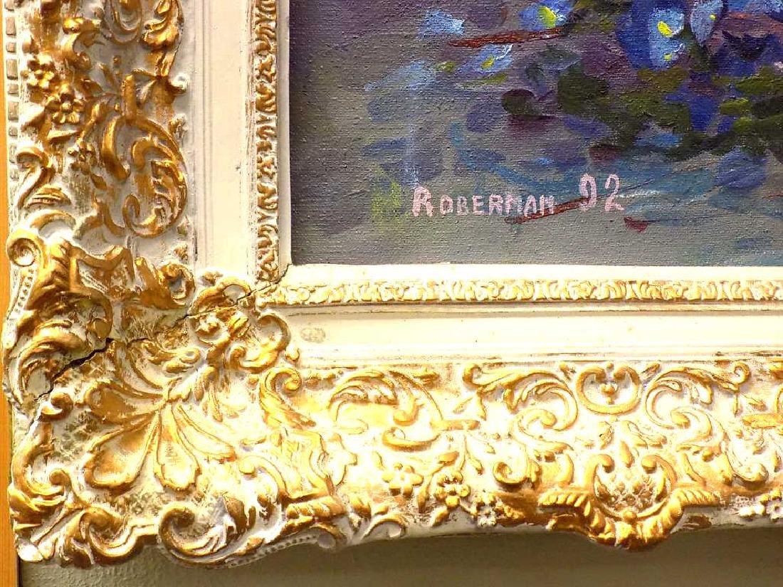 ROBERMAN - BIG DETAILED FLORAL STILL LIFE PAINTING - 3