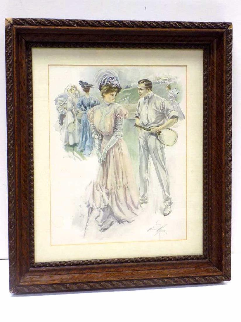 HARRISON FISHER - VICTORIAN TENNIS LITHOGRAPH