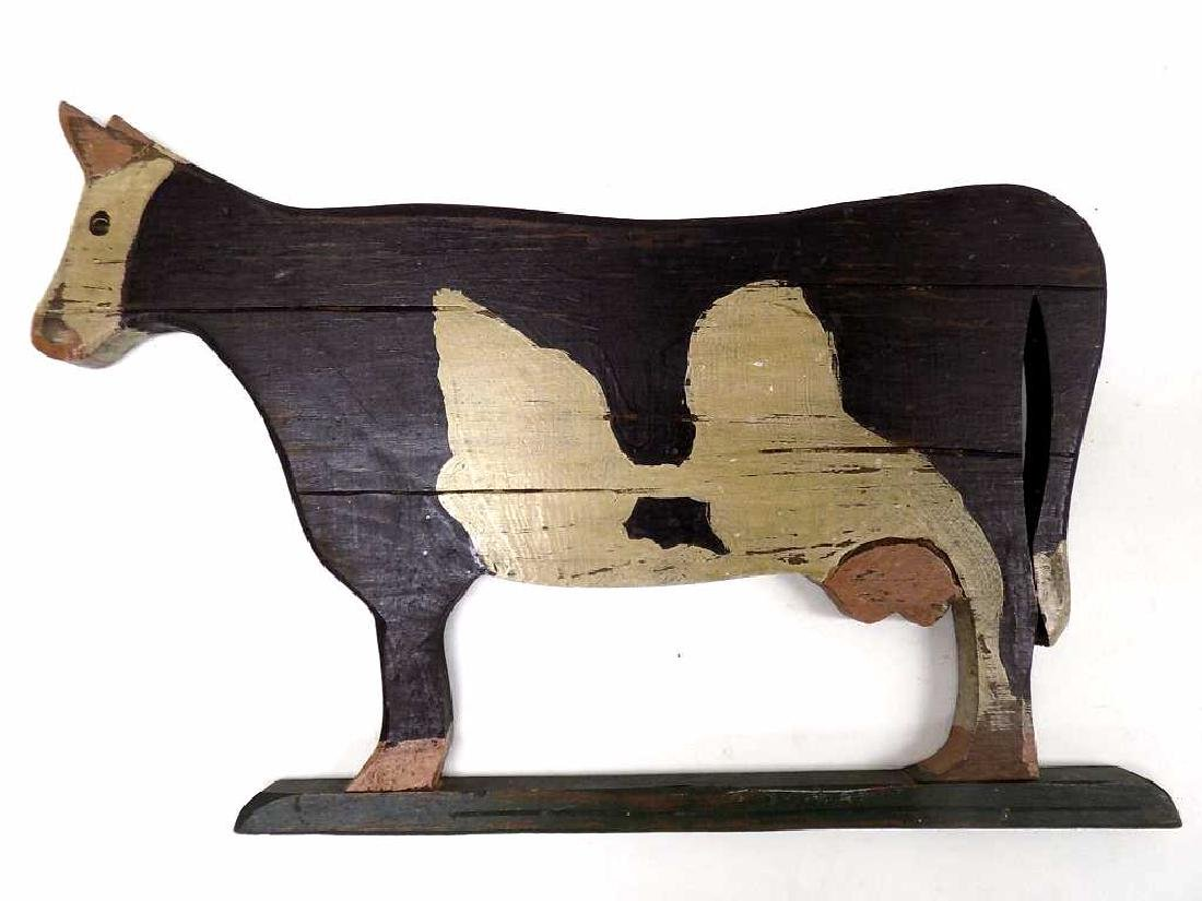 AMERICAN FOLK ART PAINTED WOOD COW PLAQUE