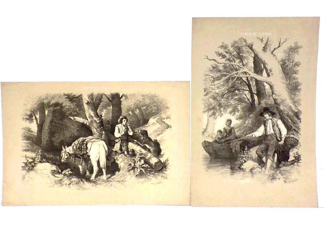 PAIR FRENCH COUNTRY SCENE LITHOGRAPHS