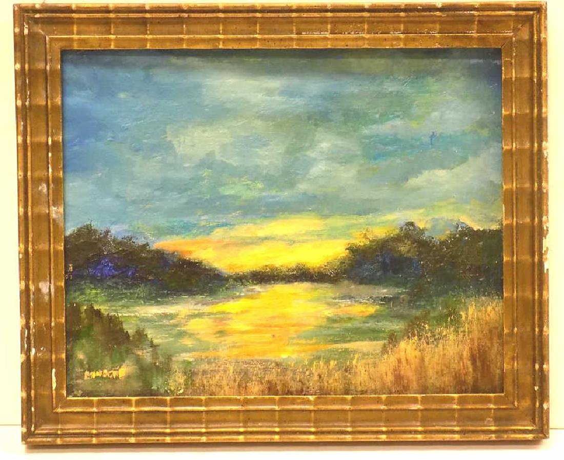 ILLEGIBLY SIGNED LUMINIST LANDSCAPE PAINTING