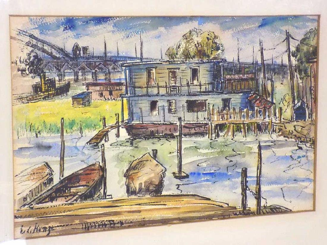 KUNZE - INDUSTRIAL HARBOR WATERCOLOR PAINTING