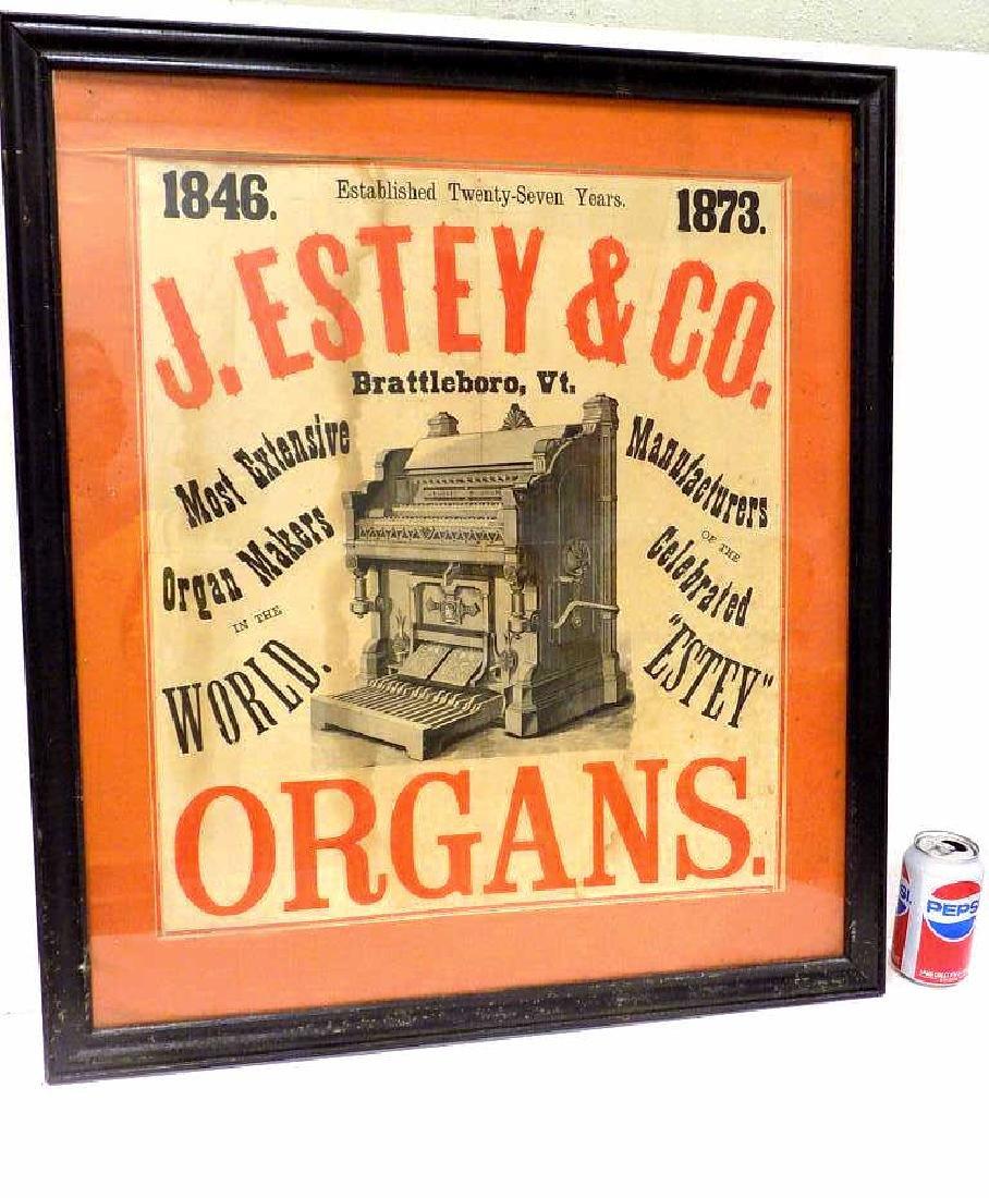 J. ESTEY & CO. 1873 ORGANS ADVERTISING POSTER
