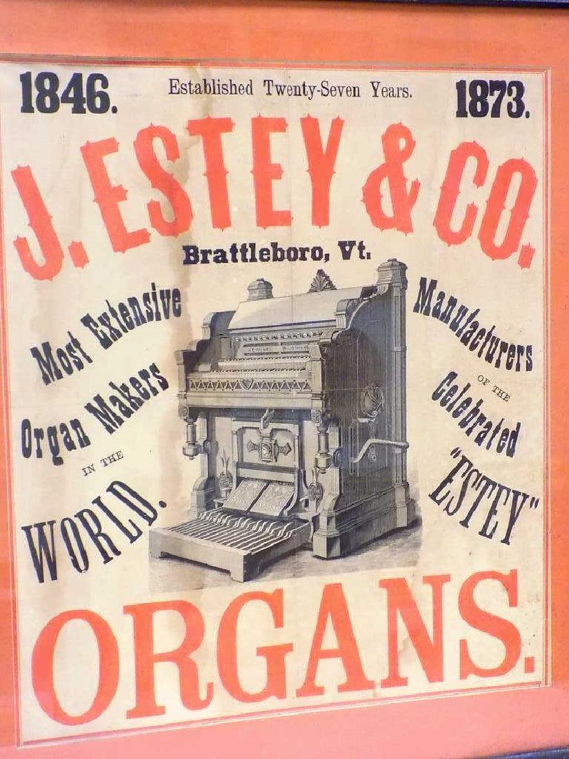J. ESTEY & CO. 1873 ORGANS ADVERTISING POSTER - 2