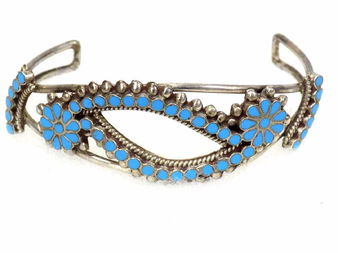 AMERICAN INDIAN FLORAL SILVER & TURQUOISE BRACELET