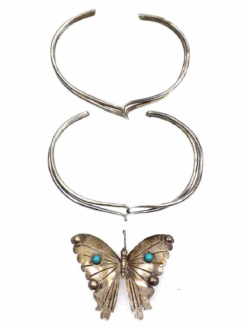 MEXICAN STERLING SILVER BRACELETS & BUTTERFLY PIN