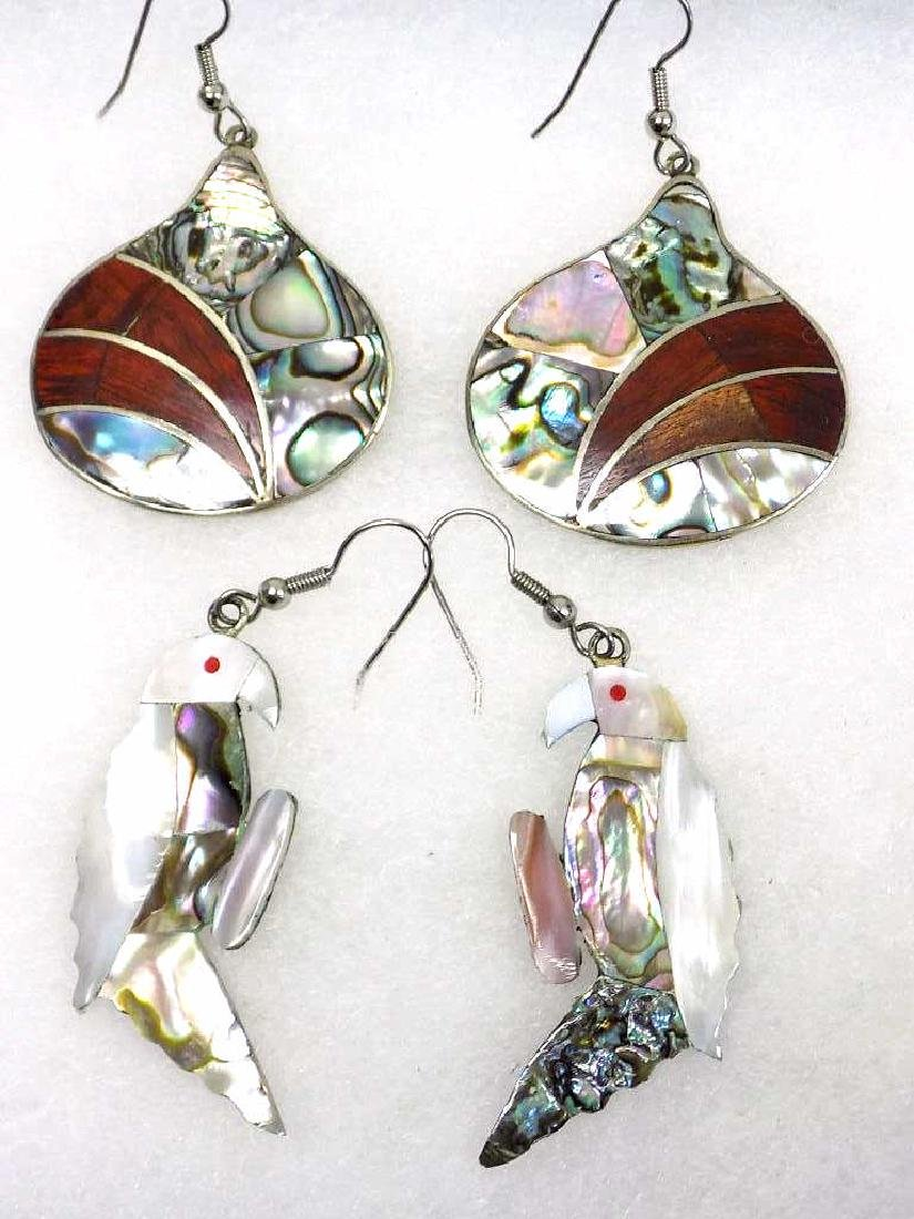 MEXICAN SILVER & ABALONE BIRD & TEAR DROP EARRINGS