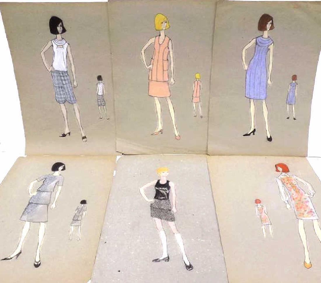 ORIGINAL MIDCENTURY NYC FASHION DESIGN SKETCHES