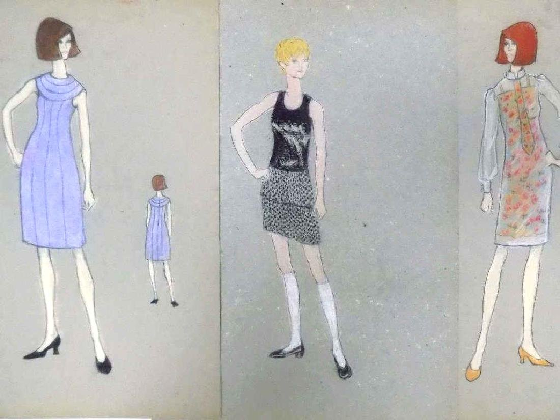 ORIGINAL MIDCENTURY NYC FASHION DESIGN SKETCHES - 2