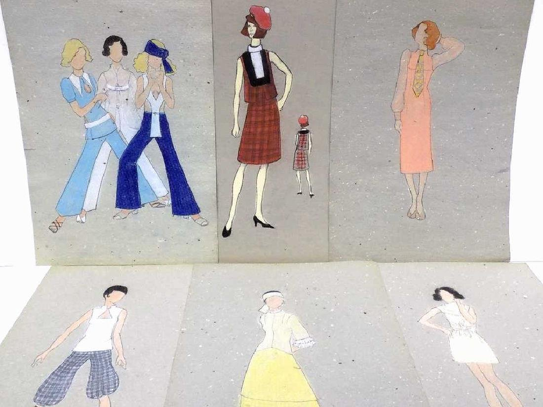 ORIGINAL MIDCENTURY NYC FASHION DESIGN SKETCHES - 3