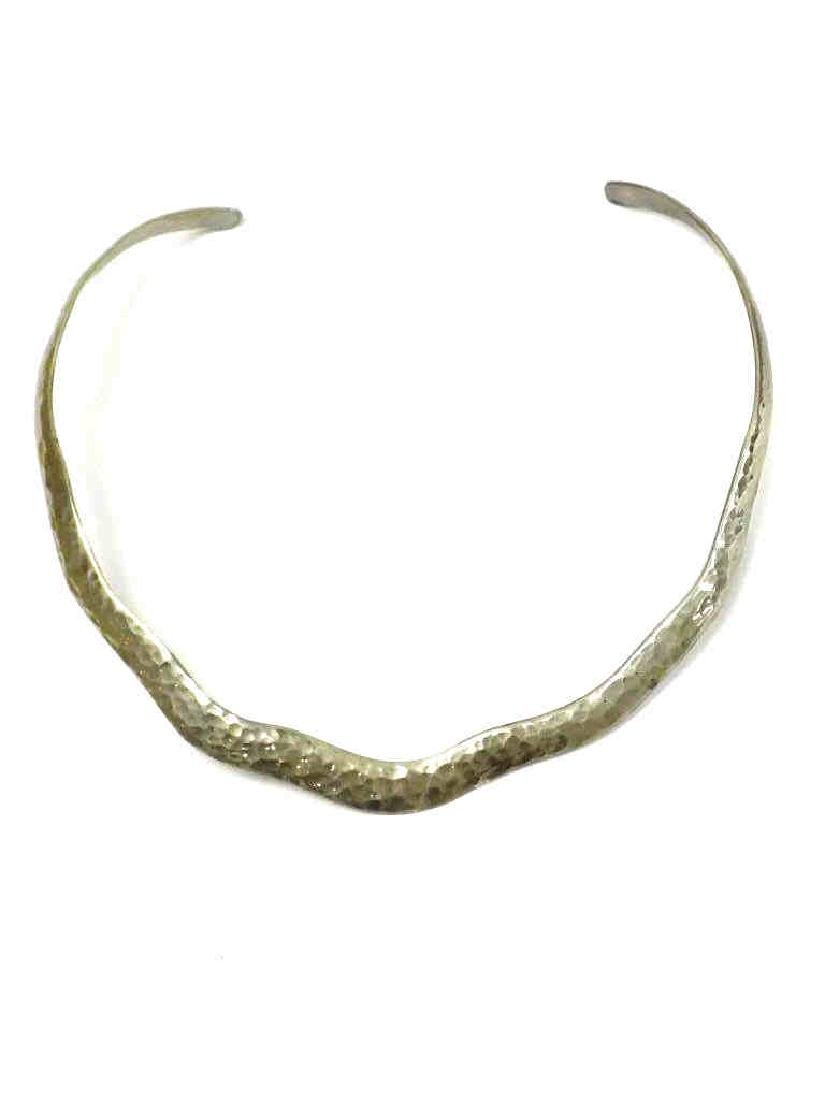 MEXICAN TE HAMMERED STERLING CHOKER NECKLACE