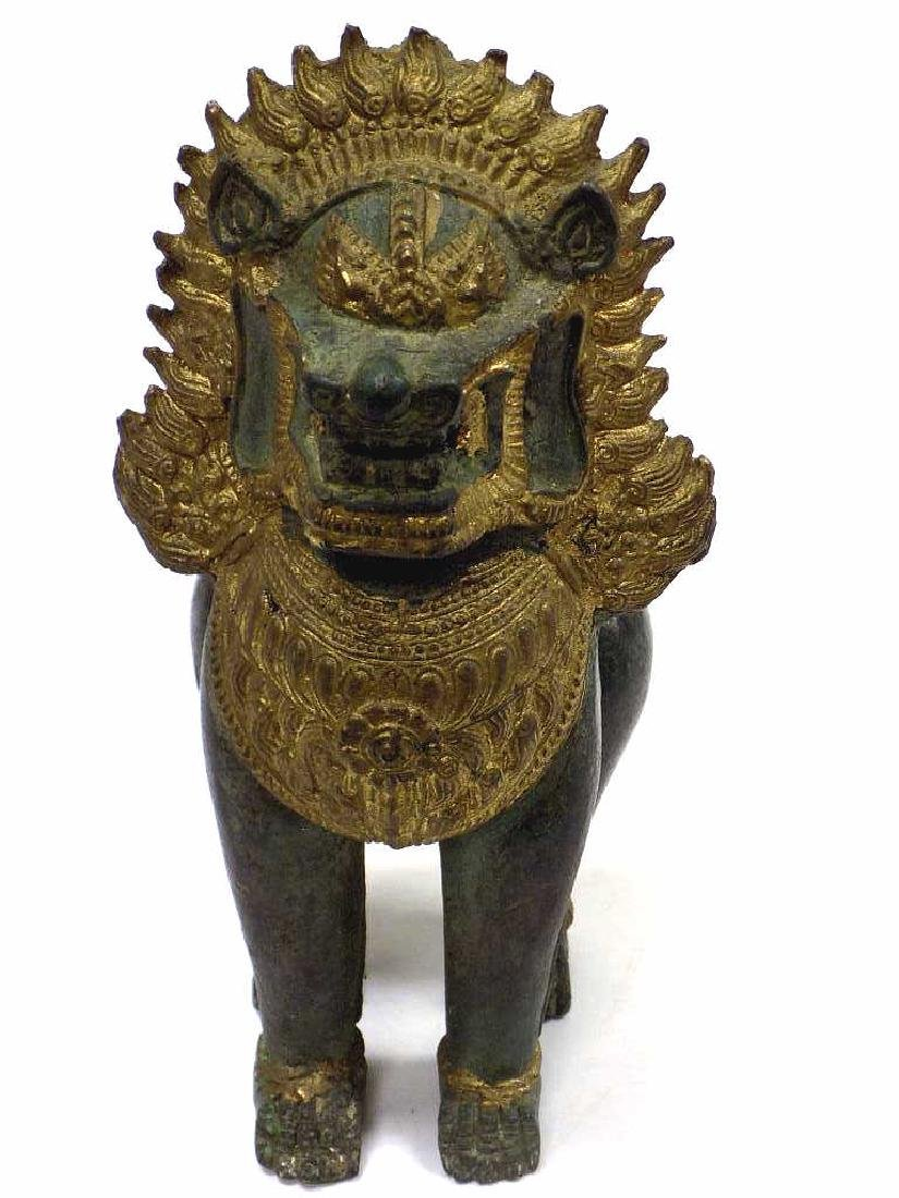 CHINESE ARCHAIC FORM BRONZE TEMPLE GUARDIAN LION