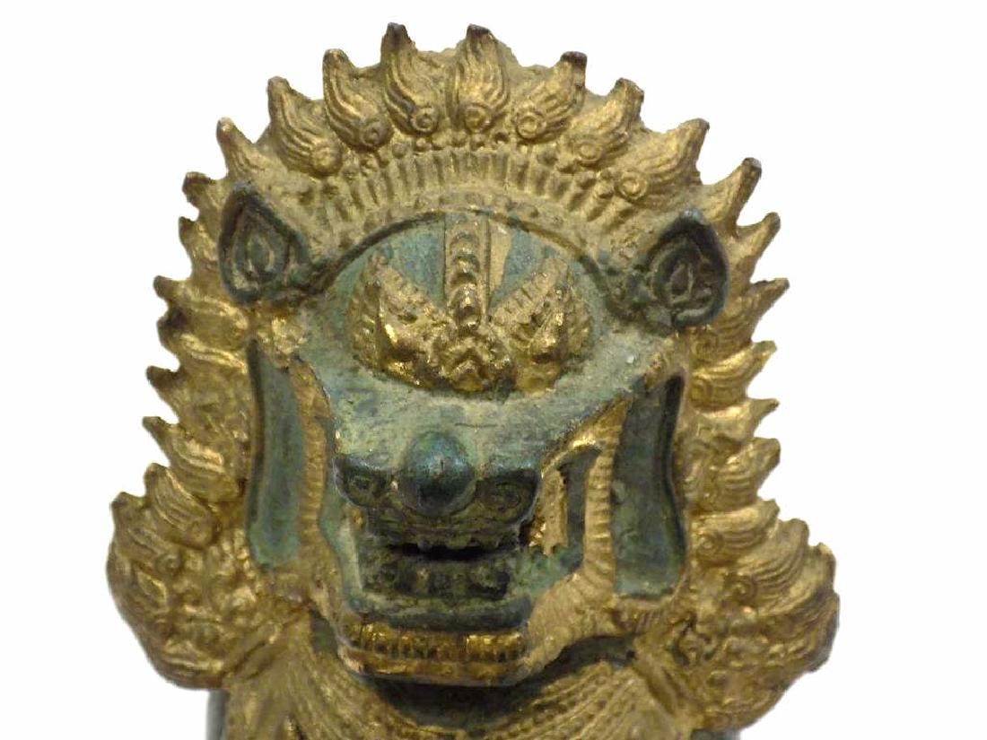 CHINESE ARCHAIC FORM BRONZE TEMPLE GUARDIAN LION - 2