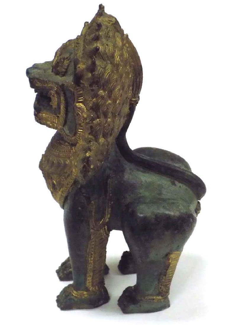 CHINESE ARCHAIC FORM BRONZE TEMPLE GUARDIAN LION - 3